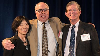 ACLS Vice President Steven Wheatley with Pauline Yu and James O'Donnell