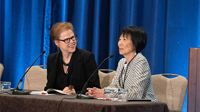 ACLS President-elect Joy Connolly with President Pauline Yu